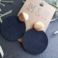 Black large cork leather drop circles