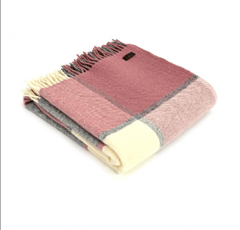 Tweedmill Block Check Dusky Pink & Grey Pure New wool Throw