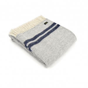 Tweedmill Fishbone 2 Stripe silver Grey & Navy