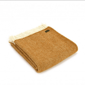 Tweedmill Fishbone Mustard Pure New Wool Throw