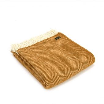 Tweedmill Fishbone Mustard Pure New Wool Throw