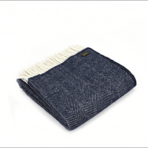 Tweedmill Fishbone Navy Pure New Wool Throw