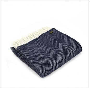 Tweedmill Fishbone Navy Pure New Wool Throw
