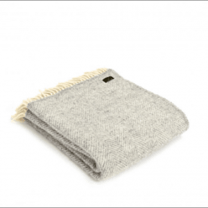 Tweedmill Fishbone Silver Grey Pure New Wool Throw
