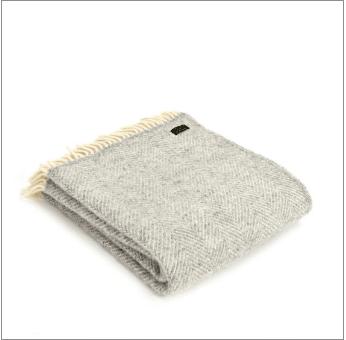 Tweedmill Fishbone Silver Grey Pure New Wool Throw