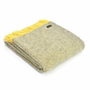 Tweedmill Herringbone Yellow & Grey Pure New Wool Throw