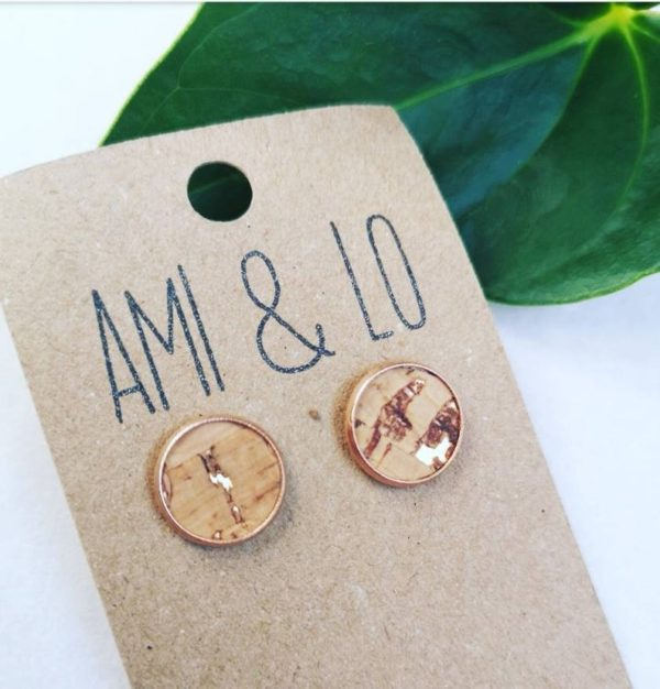 cork leather large stud natural and gold Ami and Lo