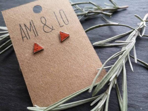 Orange cork leather triangle studs