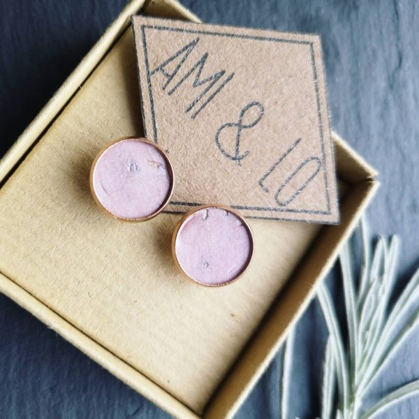 Pale pink cork leather rose gold large studs