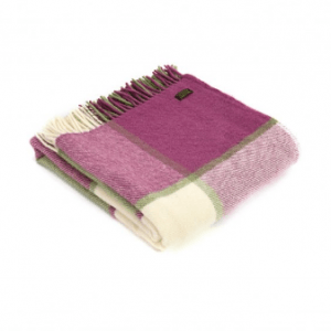 Tweedmill Block Check Raspberry Pure New Wool Throw