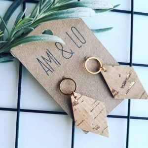 Loop diamond cork leather earring