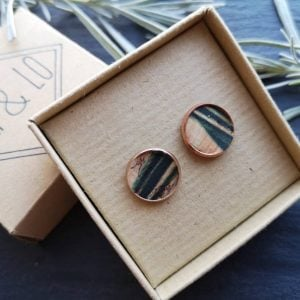 Leaf print rose gold large studs