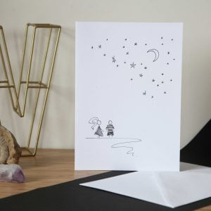 Cartoon Moon and Stars Anniversary Card