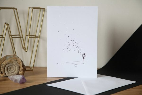Girl Blowing Bubbles Greetings Card