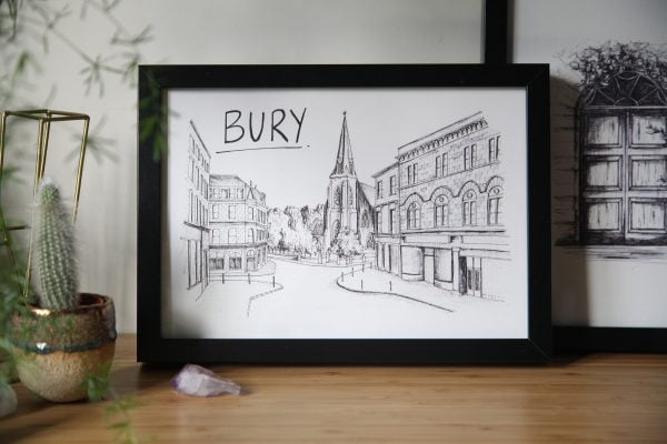 Bury Skyline Wallart Print