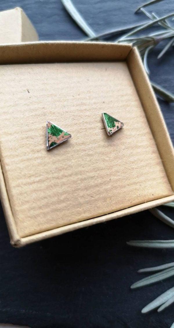 Green splash cork leather triangle studs