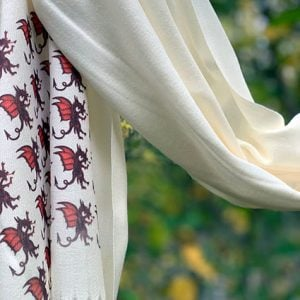 Cashmere Blend Scarf hand printed with the original drawing Dragons