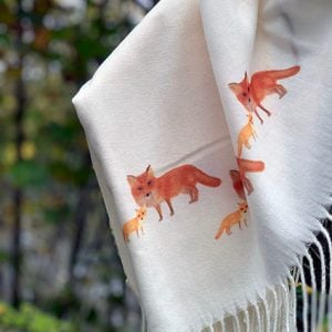 Cashmere Blend Scarf hand printed with the original drawing Fox and Cub