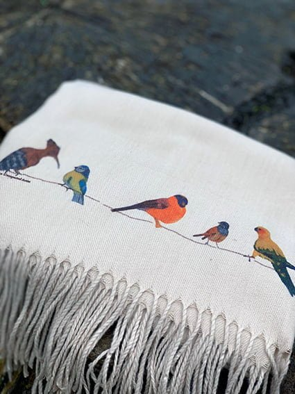 Cashmere Blend scarf hand printed with the original drawing Birds on a Wire
