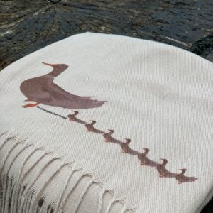 Cashmere Blend Scarf hand printed with the original drawing Ducks