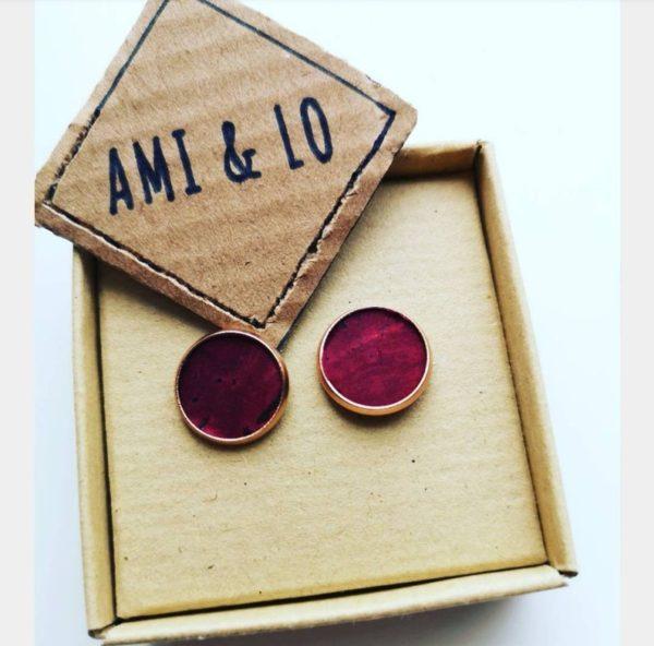 Wine cork leather rose gold studs