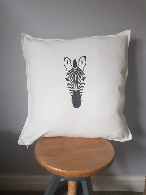 cotton 50 x 50cm zebra cushion cover can be personalised