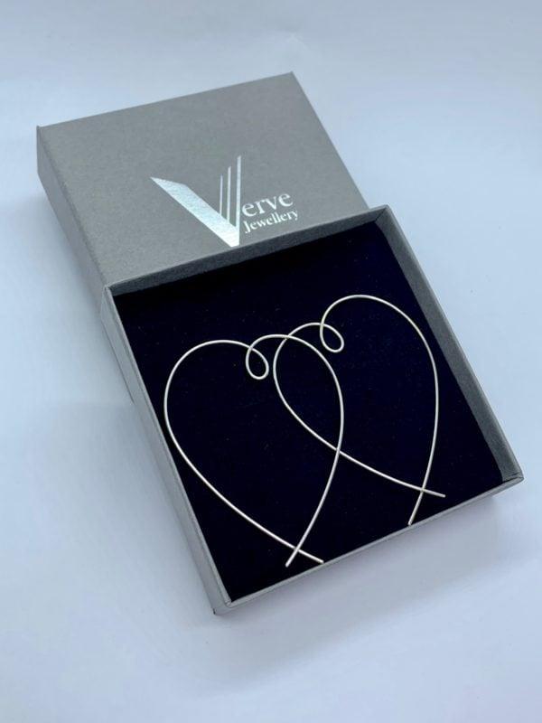Large sterling silver heart threader earrings, large heart hoops