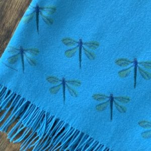 Cashmere Blend Scarf hand printed with the original Dragonflies Design