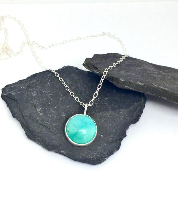 Aqua pendant, turquoise pendant, blue stone pendant