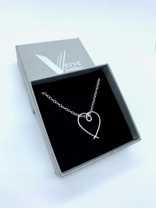 Sterling silver heart pendant, sterling silver heart necklace