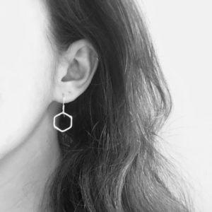 Sterling silver hexagon earrings