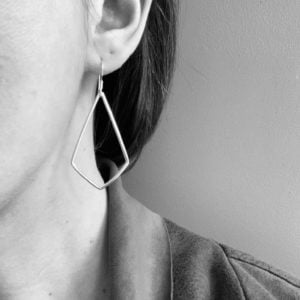 Sterling silver kite shaped earrings, large silver geometric earrings