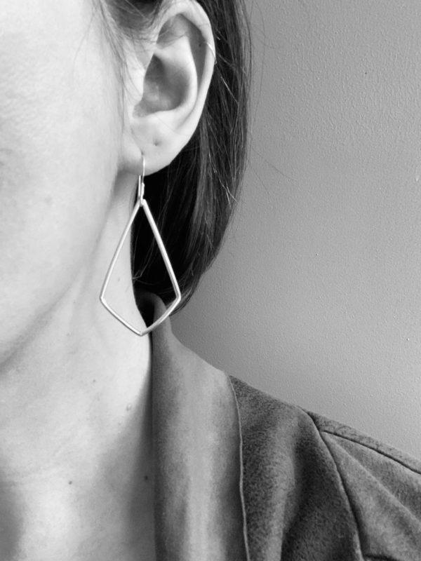Sterling silver kite shaped earrings, large silver geometric earrings