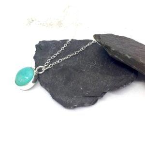 Silver turquoise pendant, aqua pendant, blue stone pendant