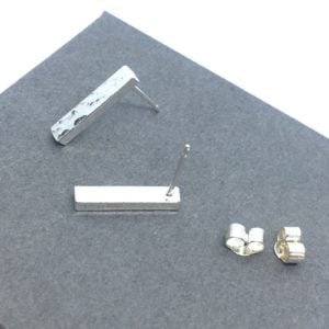 Hammered sterling silver bar studs