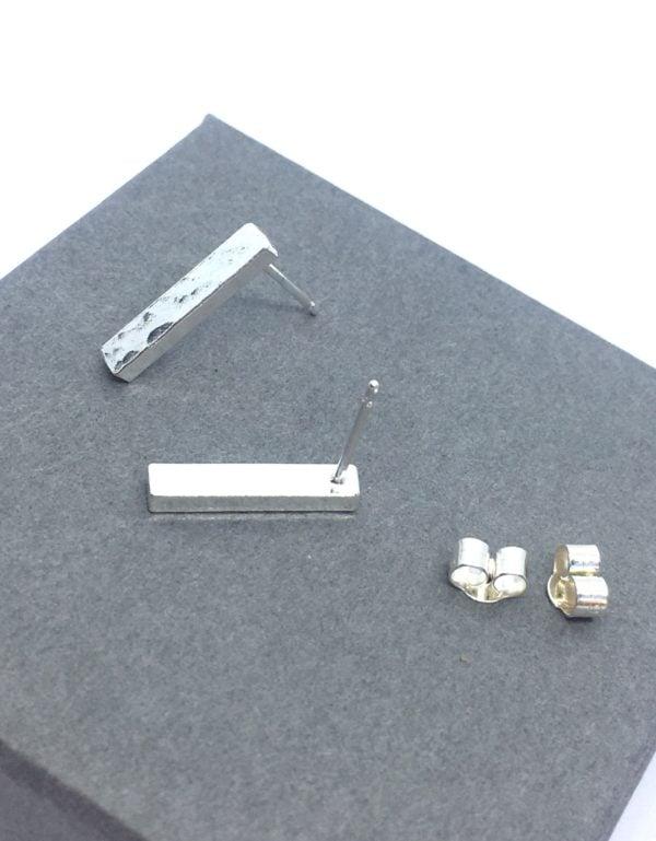 Hammered sterling silver bar studs