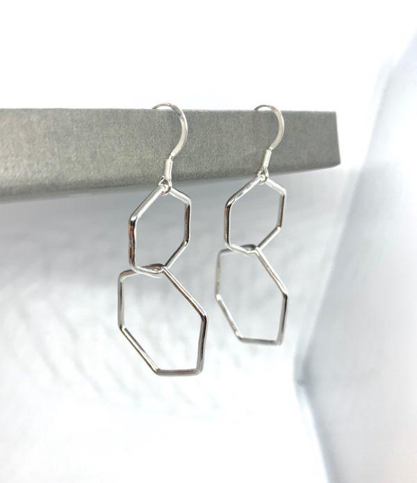 Silver hexagon earrings