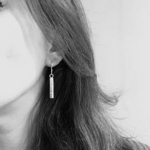Hammered silver bar earrings, bar and circle earrings