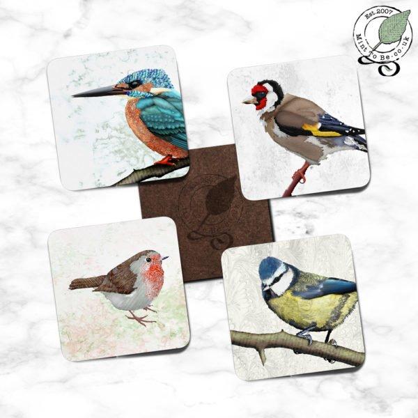 """British Birds close-up"" Set of 4 Coasters"