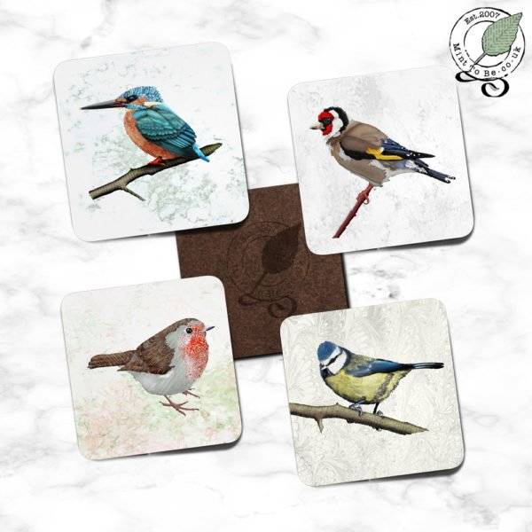 """""""British Birds full image"""" Set of 4 Coasters"""