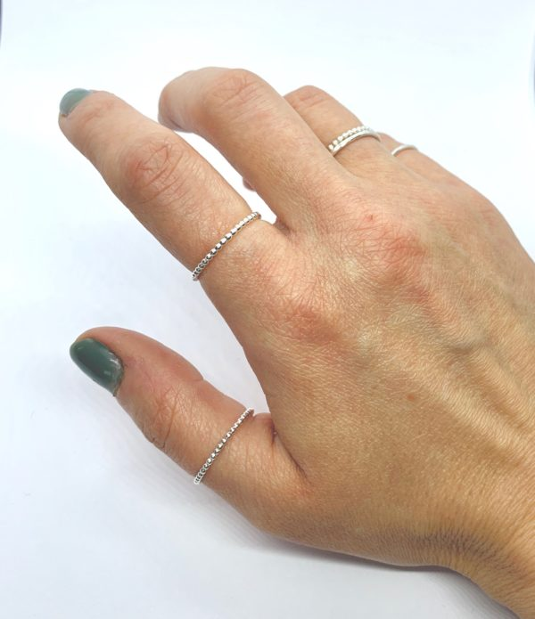 Delicate silver stacking ring, thumb ring, pinky ring