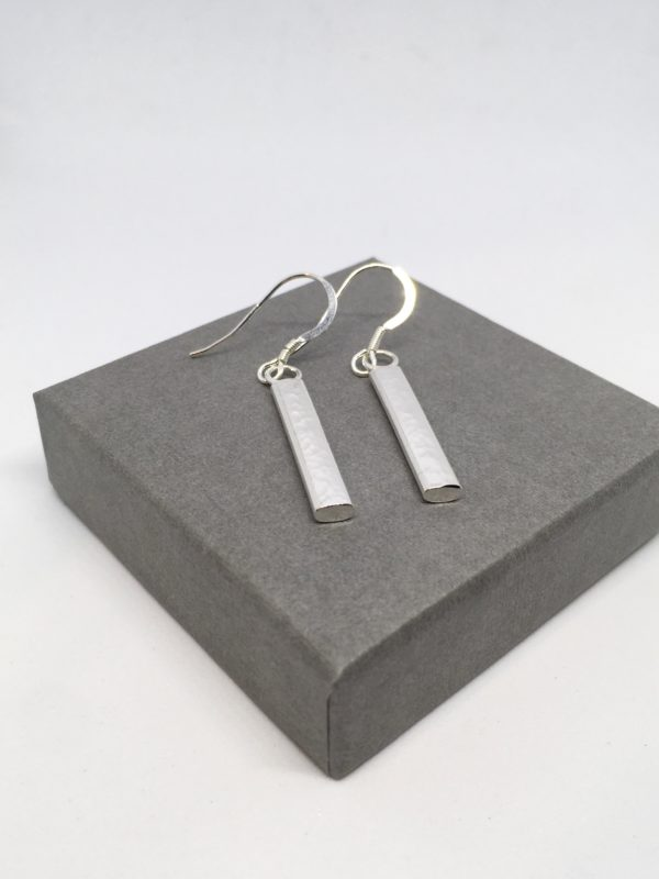 Hammered silver bar earrings, bar and circle earrings