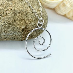 Large silver spiral necklace, silver wave necklace