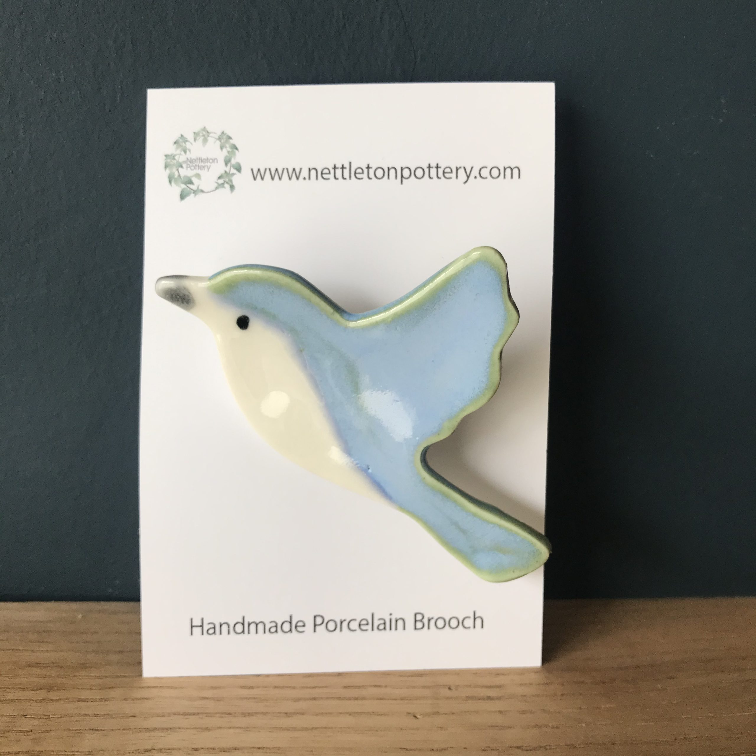 Bird Brooch- Pale Blue