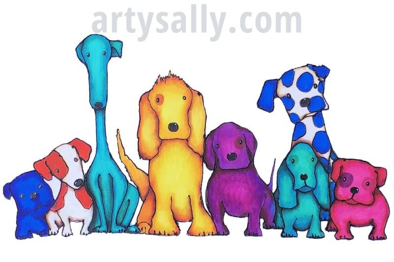 Dogs in a line – print on canvas