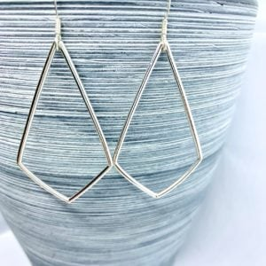 Sterling silver kite shaped earrings, large geometric earrings
