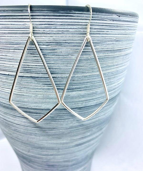 Sterling silver kite shaped earrings, large geometric earrings