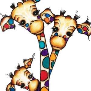 Giraffe family 3 print on canvas (20x30cm)