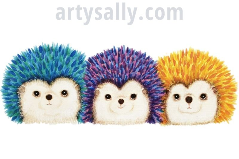 Hedgehogs (3) – print on canvas