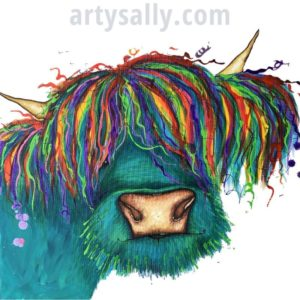 Highland Cow - Turquoise